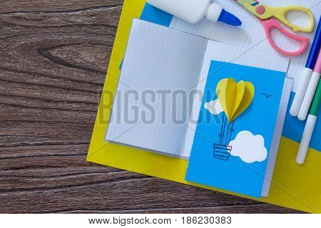 Notepad For Entries Of Handmade Balloons And Markers Decorated With Appliqués, Paper On A Desk, Craf
