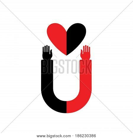 Magnet with human hands that attracts hearts. Stylish design vector illustration. Idea - love-affair. Vector magnet. Icon Of Heart. Valentine's Day.