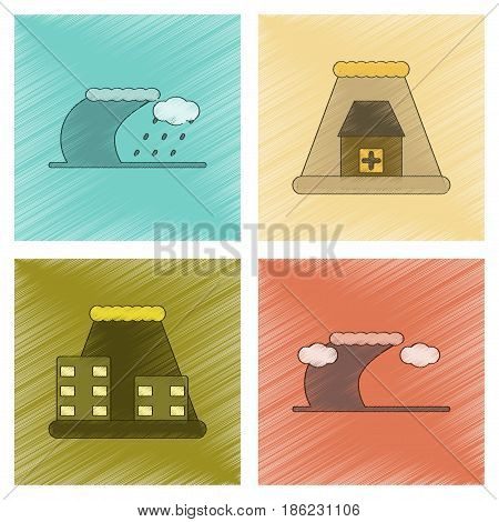 assembly flat shading style icon of nature disaster tsunami