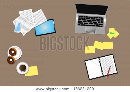 Top view of office desk with office supplies, coffee cup and donuts on the plate. Place for your text is in the middle of the vector or at the open blank organizer.