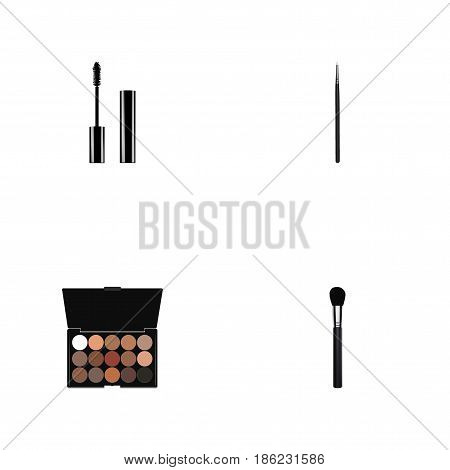 Realistic Eyelashes Ink, Beauty Accessory, Cosmetic Stick And Other Vector Elements. Set Of Cosmetics Realistic Symbols Also Includes Brow, Blending, Palette Objects.