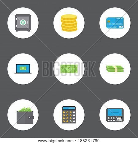 Flat Small Change, Atm, Billfold And Other Vector Elements. Set Of Business Flat Symbols Also Includes Calculator, Machine, Small Objects.