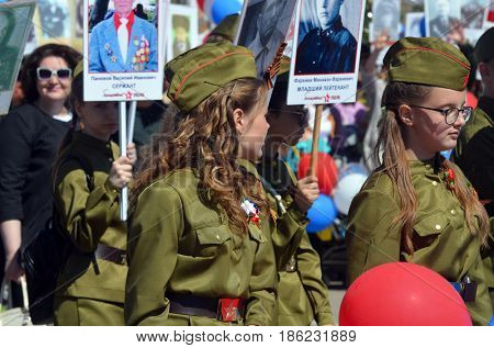 Immortal Regiment action.V-day celebration.Sary Shagan.Former Soviet  anti-ballistic missile testing range.Kazakhstan.May 8, 2017.Priozersk.Kazakhstan