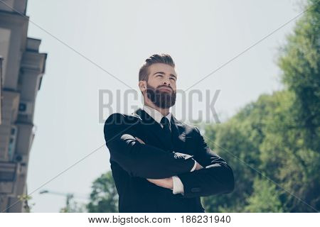 Successful Young Bearded Business Man In Classy Suit. So Stylish And Stunning! Outdoors On A Sunny D