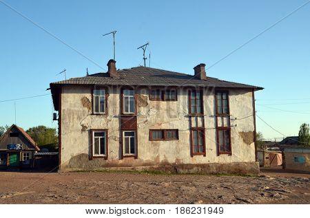 Railwaystation  Sary Shagan. Residenial buildigs jf 1950-th.Former Soviet  anti-ballistic missile testing range Sary Shagan.May 8, 2017.Sary Shagan.Kazakhstan