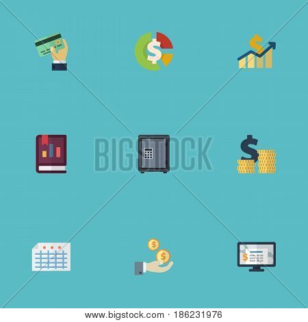 Flat Stock, Profit, Safe And Other Vector Elements. Set Of Accounting Flat Symbols Also Includes Stock, Book, Profit Objects.