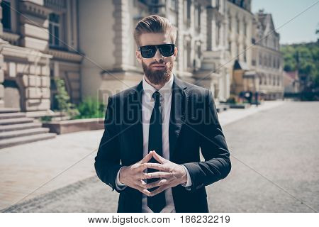 Success Concept. Stylish Elegant Harsh Bearded Guy In A Suit And Sunglasses. So Stylish And Stunning