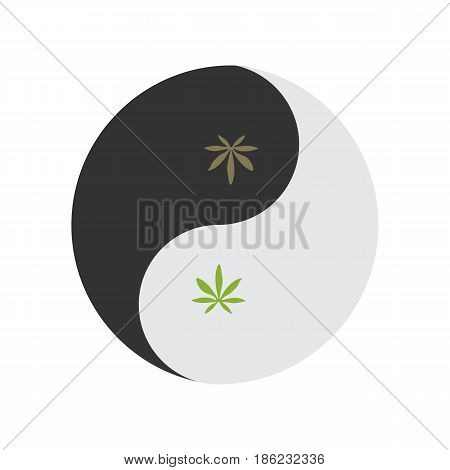 Yin and yang symbol also known as Taijitu as a symbol of harmony with weed leaf. Medical cannabis or marijuana consumption symbol.