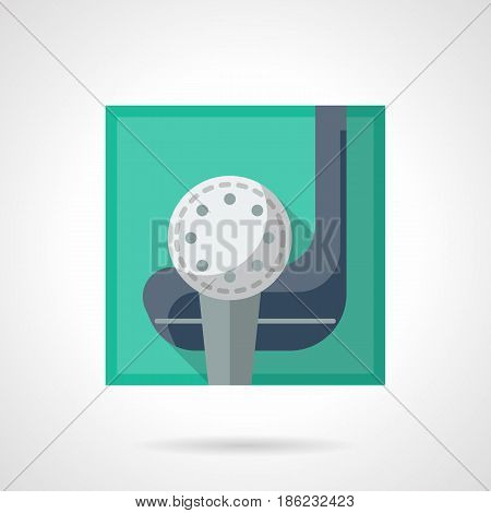 Golf ball on tee and putter. Golfing, sport and activity leisure concept. Flat color style vector icon.