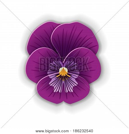 Cute pansy flower in paper art style isolated on white background. Origami style. Vector illustration.