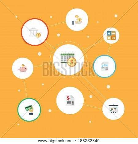 Flat Tactics, Card, Paper And Other Vector Elements. Set Of Registration Flat Symbols Also Includes Whiteboard, Bank, Duty Objects.