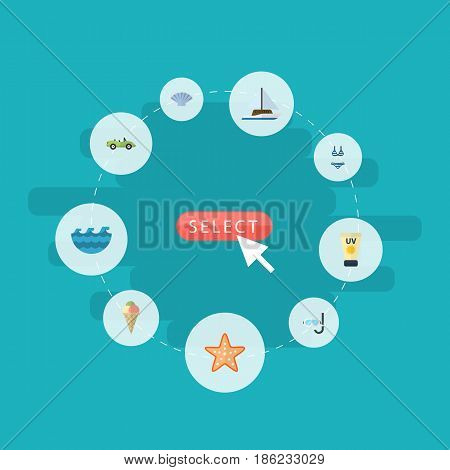 Flat Sailboard, Car, Beachwear And Other Vector Elements. Set Of Sunlight Flat Symbols Also Includes Sea, Star, Car Objects.