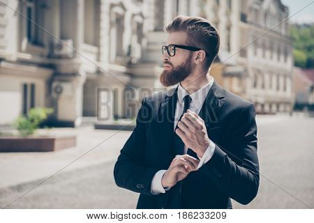 Close Up Profile Portrait Of A Successful Young Red Bearded Guy In Suit And Glasses. So Stylish And