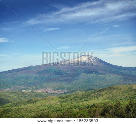 cone volcano Etna Mount and the town of Randazzo at his feet, Sicily