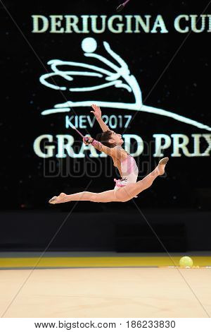 Gymnast Perform At Rhythmic Gymnastics Competition