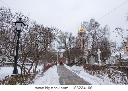 Novodevichy Convent the best-known cloister of Moscow Russia and was proclaimed a UNESCO World Heritage Site. Full of snow in winter.