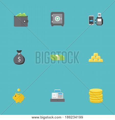 Flat Till, Small Change, Money Box And Other Vector Elements. Set Of Business Flat Symbols Also Includes Gold, Salary, Sack Objects.