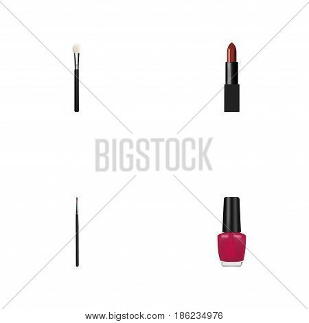 Realistic Brush, Powder Blush, Pomade And Other Vector Elements. Set Of Greasepaint Realistic Symbols Also Includes Polish, Makeup, Lipstick Objects.