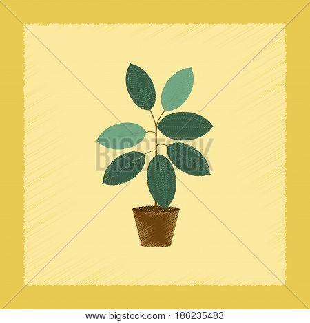 flat shading style Illustrations of plant Ficus