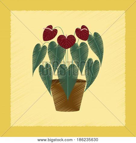 flat shading style Illustrations of plant Anthurium