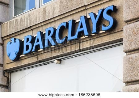 Lyon, France - August 15, 2016: Barclays bank logo on a wall. Barclays is a British multinational banking and financial services company headquartered in London