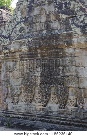 Carving detail at Preah Khan Temple Cambodia.