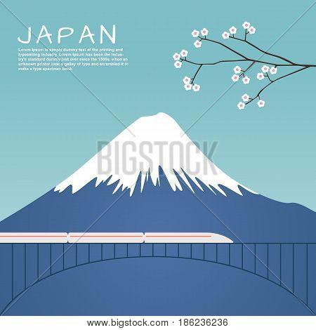 Mount Fuji in Japan with Sakura tree and the train on bridge