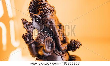 Close-up Of Ganesha Statue. Hinduism And Ganesha, Close-up. God From Hinduism