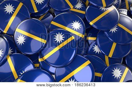 Nauru Badges Background - Pile Of Nauruan Flag Buttons.