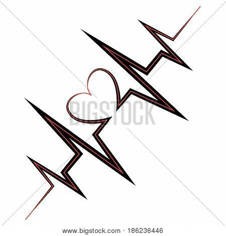 Life line. Symbol heart. Gray heart icon with sign heartbeat. Vector illustration. Heart sign in flat design.