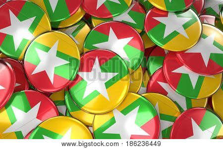 Myanmar Badges Background - Pile Of Burmese Flag Buttons.