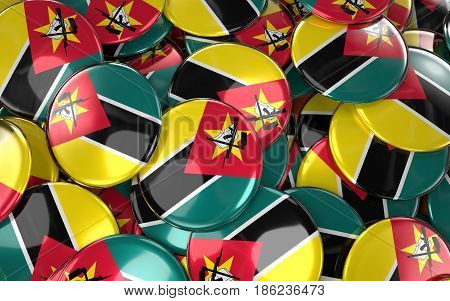 Mozambique Badges Background - Pile Of Mozambican Flag Buttons.