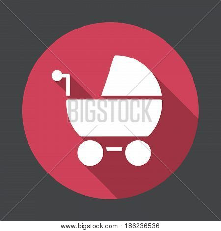 Stroller pram flat icon. Round colorful button circular vector sign with long shadow effect. Flat style design