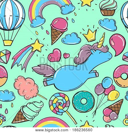 Unicorn sweet set of stickers, heart, rainbow, balloon, dessert and other elements. Vector hand drawn illustration. Set of stickers, pins, patches in cartoon comic style. Blue background
