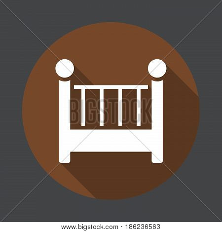 Cot crib flat icon. Round colorful button circular vector sign with long shadow effect. Flat style design
