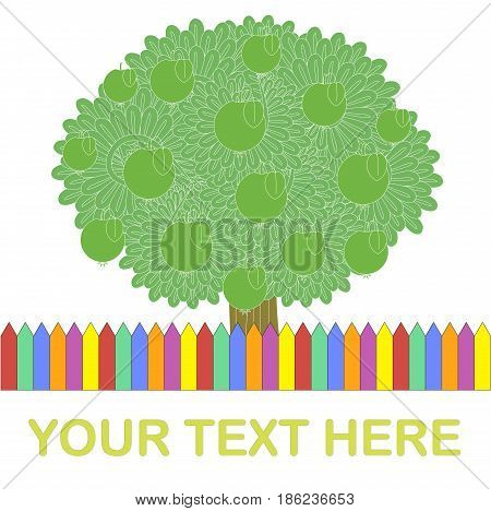 Template for typography banner. Green apple tree, colorful fence, Your text here on white