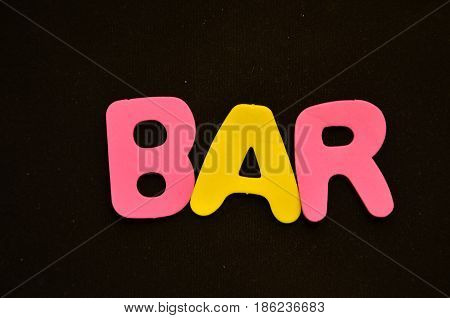 word bar on a  abstract black background