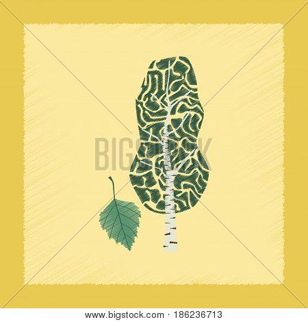 flat shading style Illustrations of plant Betula