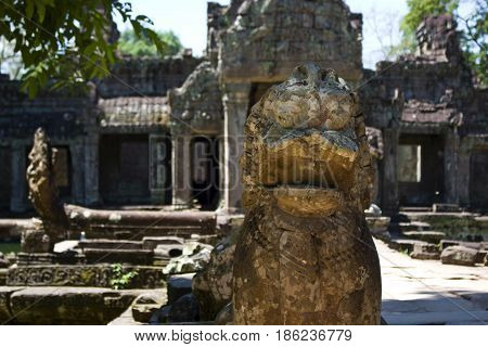 Guardian statue in Preah Khan Temple Cambodia.