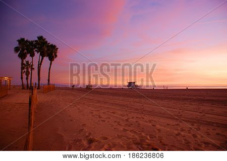 Sunset at Venice Beach California featuring lifeguard tower and palm trees