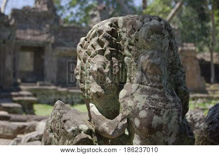 Naga figure in Preah Khan Temple Cambodia.
