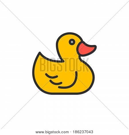 Rubber duck toy filled outline icon line vector sign linear colorful pictogram. Symbol logo illustration. Pixel perfect