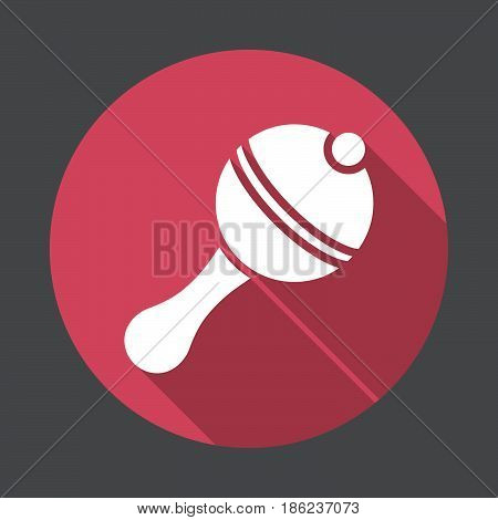 Rattle flat icon. Round colorful button circular vector sign with long shadow effect. Flat style design