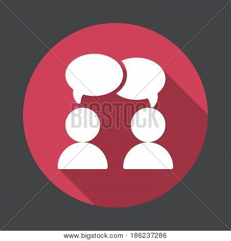 Chat forum flat icon. Round colorful button circular vector sign with long shadow effect. Flat style design