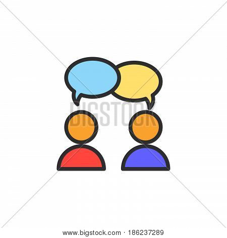Collaboration conversation filled outline icon line vector sign linear colorful pictogram. Chat forum symbol logo illustration. Pixel perfect