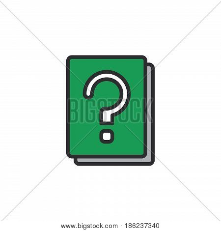 Question mark book filled outline icon line vector sign linear colorful pictogram. Symbol logo illustration. Pixel perfect