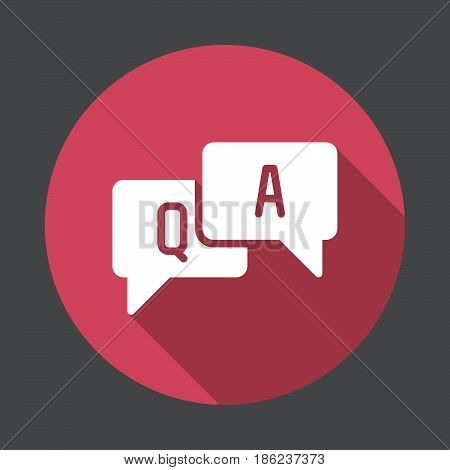 FAQ questions and answers flat icon. Round colorful button circular vector sign with long shadow effect. Flat style design