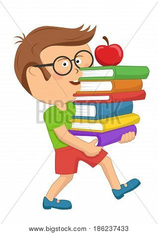 Cute primary schoolboy carrying stack books with red apple over white background