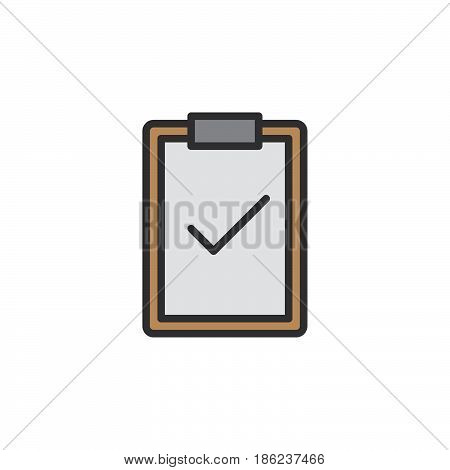 Clipboard with check mark filled outline icon line vector sign linear colorful pictogram. Symbol logo illustration. Pixel perfect