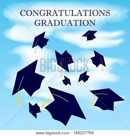 Graduation caps fly in the air in a moment of celebration. Background with blue sky and clouds. Vector illustration